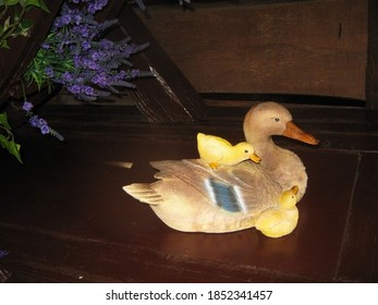 Toy ducks lie on the table