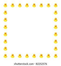 Toy ducks in row border on white background
