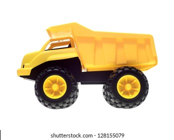 A toy dump truck isolated against a white background