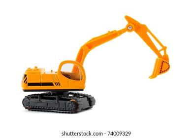 Toy excavator isolated on white background