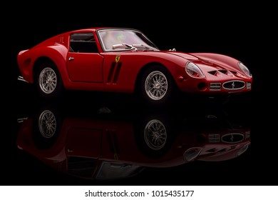 Toy Ferrari 250 GTO on background. Photo made in the studio, Saturday 29 October 2016