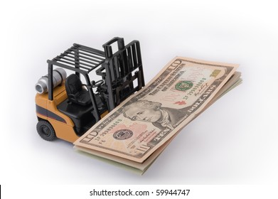 Toy fork lift with 10 dollar