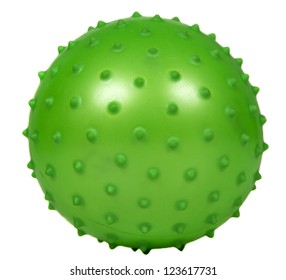 Toy green ball isolated over white background