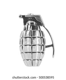 Toy hand grenade on white background. Black and white tone.