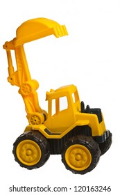 toy heavy excavator isolated over white background