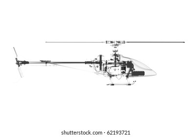 Toy helicopter 3D rendered white transparent
