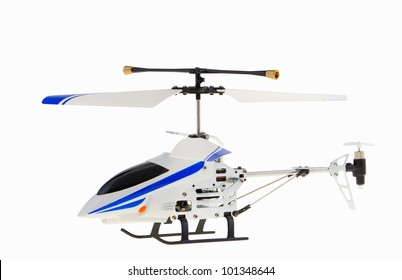 Toy helicopter model isolated on a white background