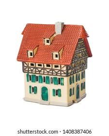 Toy house isolated on white background
