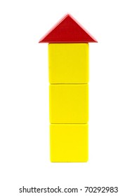 A toy house made from building blocks