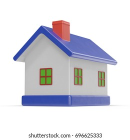 Toy House on white. 3D illustration