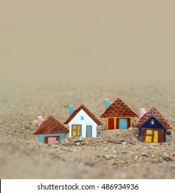 toy landscape on the sand