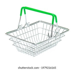 Toy metal shopping basket with green handles on isolated white background