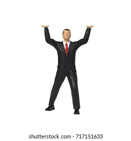 toy miniature businessman figure lifting, concept isolated on white background