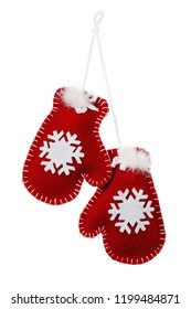 Toy mittens as decorations for Christmas holidays, isolated on white background