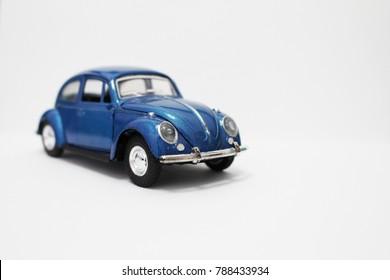 Toy model car Volkswagen Beetle. Vintage car model. Old retro beetle car. Baku -Azerbaijan 7 January 2018