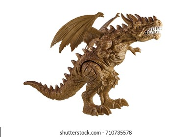Toy model of a dragon on a white background