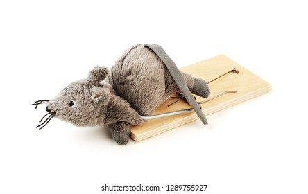 Toy mouse in a mousetrap isolated on a white background