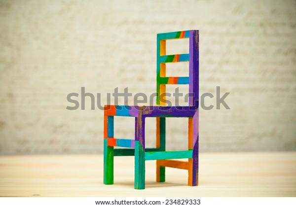 Awe Inspiring Toy Multicolored Wooden Chair Modern Art Stock Photo Edit Spiritservingveterans Wood Chair Design Ideas Spiritservingveteransorg