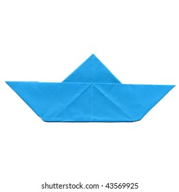Toy paper boat isolated over white background