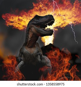 toy photography of Dinosaur facing extinction with meteor shower thunder lighting and volcano eruption and fire, end of the world of dinosaurs