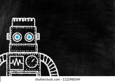 Toy Picture of Vintage Robot Chalk Drawing on Chalkboard Awesome Background with Free Space for Text.