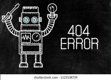 Toy Picture of Vintage Robot Chalk Drawing and 404 Error Writing on Chalkboard Awesome Background.