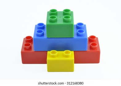 Toy Plastic Building Blocks for children . Focus on near edge of bricks with selective focus.