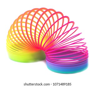 Toy plastic colorful rainbow spiral for play isolated on white background