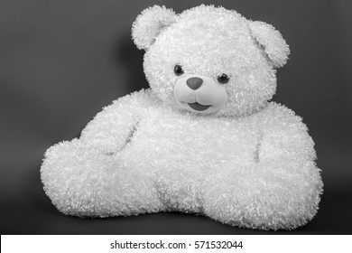 Toy - a polar bear on a black background - black and white