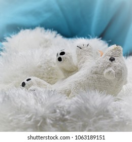 Toy polar bear struggling showing  impact on climate of the polar bear due to global warming on arctic blue background