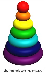 Toy pyramid - a close up. 3D rendering.