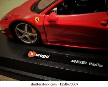 Toy R Us, Selangor, Malaysia - December 2018: Closeup Ferrari 458 Italia made by Burago display for sale in toy store. Ferrari is an Italian luxury sports car manufacturer based in Maranello