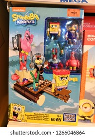 Toy R Us, Selangor, Malaysia - December 2018: Spongebob toy from Nickelodeon display for sale in toy store.Nickelodeon is an American pay television channel launched on December 1, 1977.