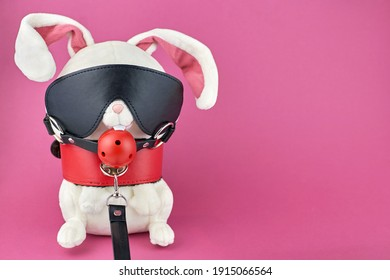 A toy rabbit dressed in BDSM accessories. The concept of a sex shop. Toy rabbit wearing BDSM costume on pink background.