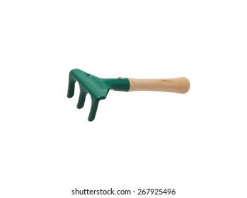 Toy rake. Isolated on white.