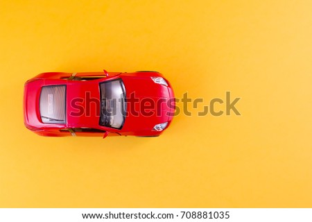 Toy Red Car On Yellow Background Stock Photo Edit Now 708881035