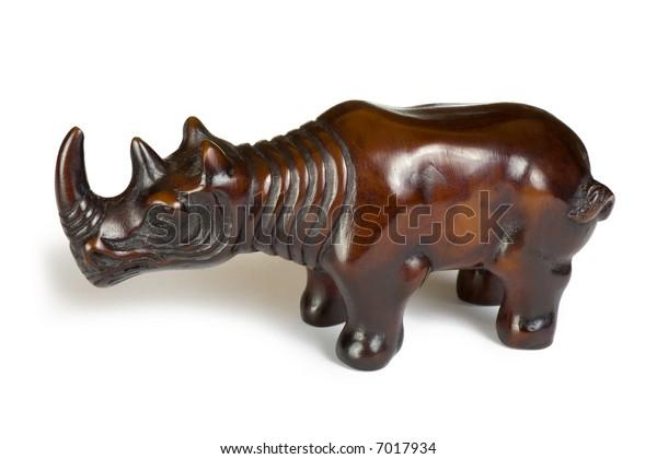 Toy rhinoceros, isolated on white background