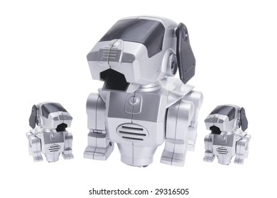 Toy Robot Dogs on Isolated White Background