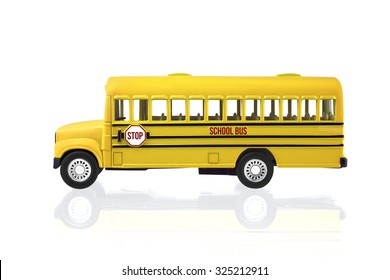Toy School Bus isolated on a white background with clipping path