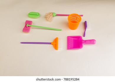 Toy set for cleaning. Brush, broom, dustbin, MOP