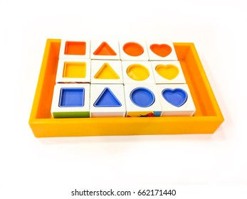 Toy Shapes and colors isolated on white background