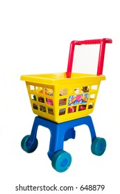 toy shopping chariot on white background