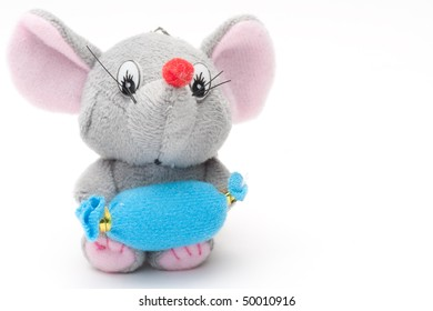 Toy soft mouse with on a white background