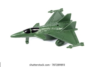 toy soldier plane green isolated on white background.
