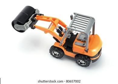 Toy Steam Roller on White Background
