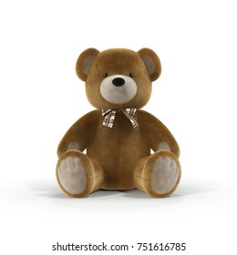 Toy Teddy Bear on a white. Front view. 3D illustration