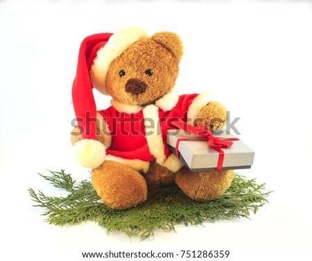 bdaef889542b4 Toy Teddy Bear Wearing Santa Hat Stock Photo (Edit Now) 751286359 ...