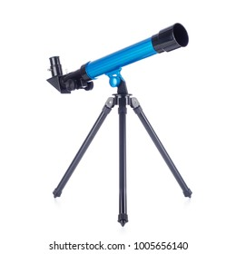 Toy telescope on white background.