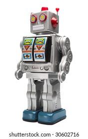 Toy tin robot isolated on white