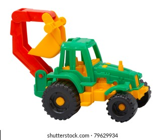 The Toy Tractor Isolated On A White Background